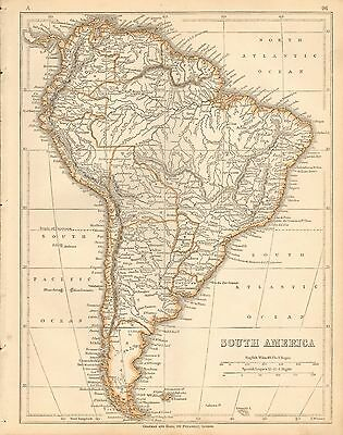 1853 Ca ANTIQUE MAP H/COL LOWRY-SOUTH AMERICA