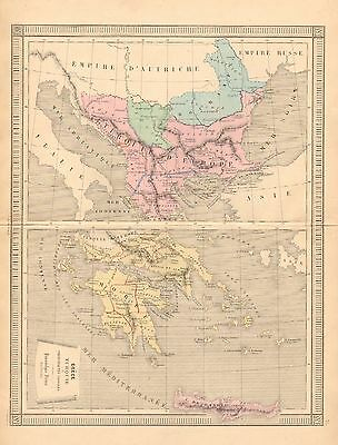 1875 Ca ANTIQUE MAP-GREECE AND TURKEY