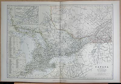 1882 Large Antique Map - Canada, Province Of Ontario And Part Of Quebec