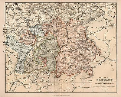 1900 Ca ANTIQUE MAP EMPIRE OF GERMANY SOUTHERN PORTION, INC ALSACE LORRAINE