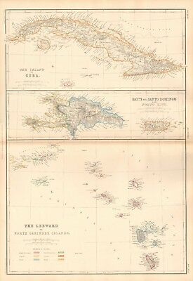 1859  Large Antique Map - Lowry- Cuba, Haiti, Leeward Islands
