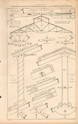 1867 Antique Architecture, Design Print- Wrought Iron Roof For Station Buildings