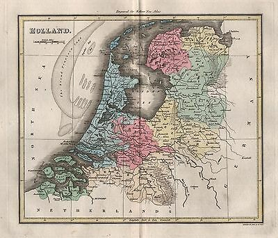 1816 Antique Map Walker Hand Coloured Holland Showing The Broad Fourteen Sand