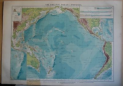 1915  Large Antique Mercantile Map - The Pacific Ocean-Physical