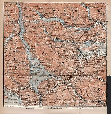 1910 Baedeker Antique Map- Uk-Scotland-Lomond,Callander,Lennoxtown,Helensburgh
