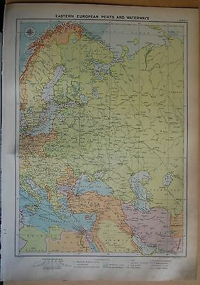 1915  Large Antique Mercantile Map - Eastern European Ports And Waterways