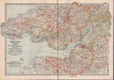 1903 Britannica Antique Map England And Wales Hereford Monmouth Gloucester Somer