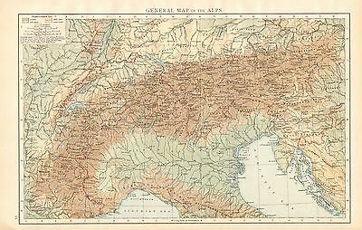 1895 Large Antique Map-General Map Of The Alps