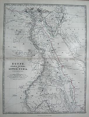 1868 Large Victorian Map : Egypt Arabia Petraea And Lower Nubia