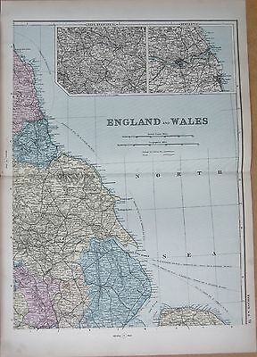 1890 Large Victorian Map - Eastern England, Leeds,Bradford, Newcastle, Hull