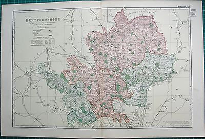 1896 Large Victorian County Map- Hertfordshire,Watford,Hatfield,Baldock,Hitchin