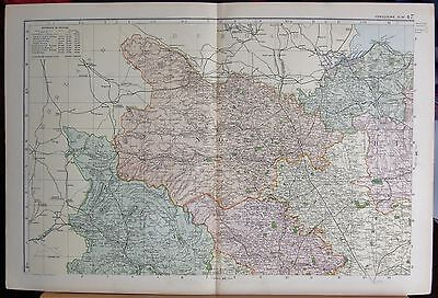 1896 Large Victorian Map -Yorkshire North West  Parliamentary Divisions