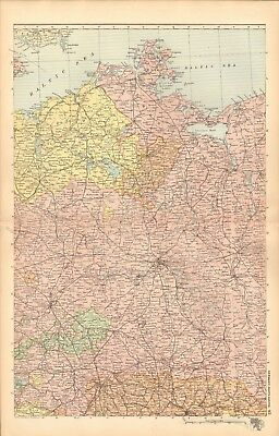 1893 Antique Map - Germany North Central, Berlin, Magdeburg, Leipzig