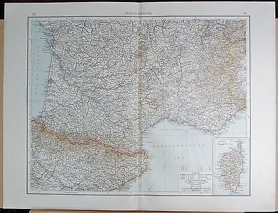 """1900 """"Times""""  Large Antique Map - France South, Inset Corsica"""