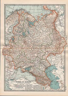 1903 Britannica Antique Map Russia In Europe With Poland And Finland