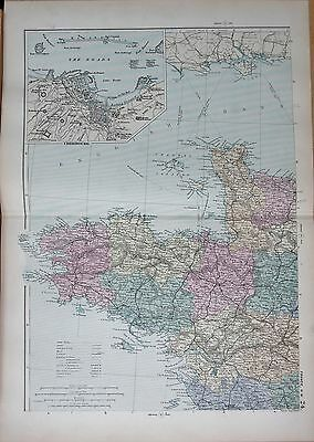 1890 Large Victorian Map - North West France, Inset Cherbourg