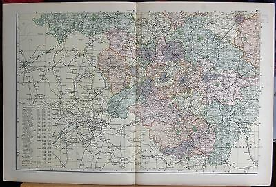 1896 Large Victorian Map -Yorkshire South West  Parliamentary Divisions