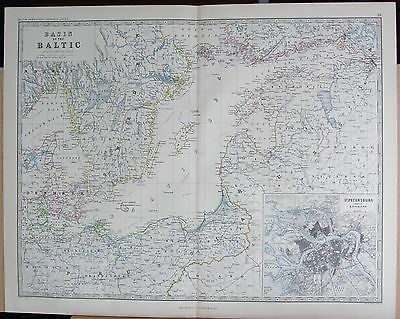 1875 Extra Large Antique Map - Basin Of The Baltic, Inset St Petersburg