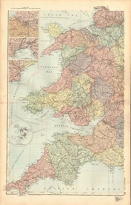 1893 Antique Map - Wales, England South West, Bristol, Swansea, Cardiff