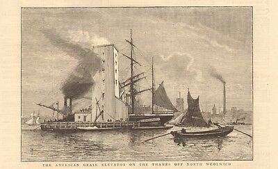 1880 Antique Print -The American Grain Elevator On The Thames Off North Woolwich
