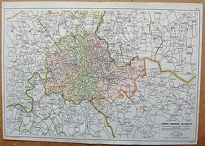1912 Ca LARGE MAP-BACON - LONDON & SUBURBS- CORONERS DISTRICTS
