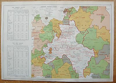 1912 Ca LARGE MAP-BACON - LONDON & SUBURBS- LONDON WATER SUPPLY