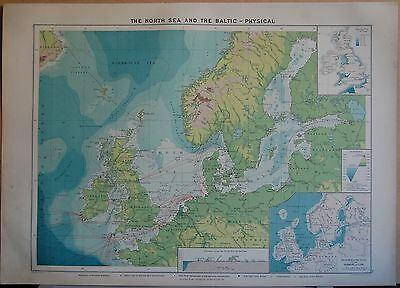 1915  Large Antique Mercantile Map - The North Sea And The Baltic-Physical