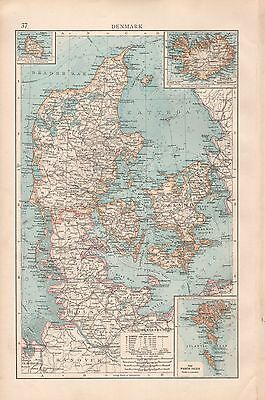 "1900 ""Times""  Large Antique Map - Denmark Inset Iceland, Faroe Islands"