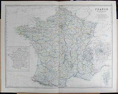 1875 Extra Large Antique Map - France In Departments Inset Provinces, Corsica