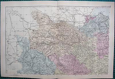 1892 Large Victorian  Map- Yorkshire North West, Thirsk,Bedale,Settle