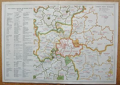 1912 Ca LARGE MAP-BACON - LONDON & SUBURBS- LONDON PETTY SESSIONS, LAW