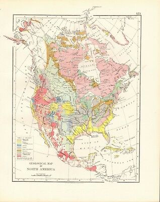 1897 Antique Map- Johnston - Geological Map Of North America
