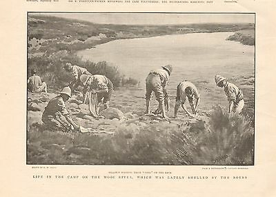 1899 Antique Print - Boer War-Soldiers Washing Clothes On Banks Of Mooi River