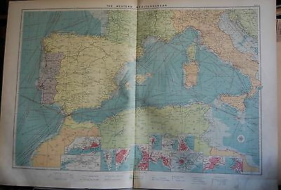 1915  Large Antique Mercantile Map - The Western Mediterranean, 12 Insets