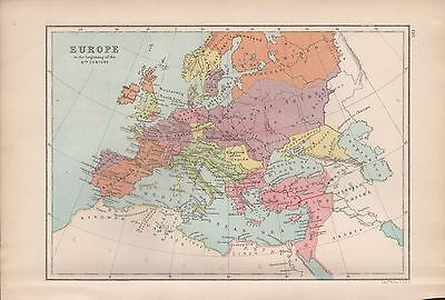 1875 Antique Map - Europe In The Beginning Of The 6Th Century