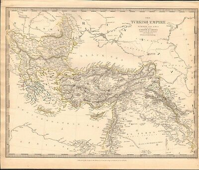 1843 Antique Map- Sduk - Turkish Empire In Europe And Asia, Kingdom Of Greece
