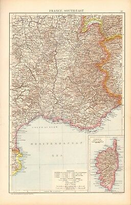 1893 Antique Map - France South East, Inset Corsica