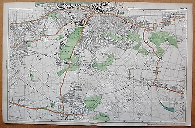 1912 Ca LARGE SCALE BACON STREET MAP- LONDON - WOOLWICH PLUMSTEAD SHOOTER'S HILL