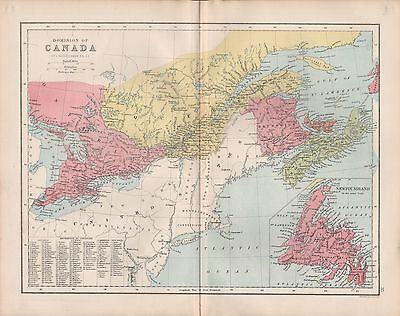 1875 Antique Map -  Dominion Of Canada, Inset Of Newfoundland