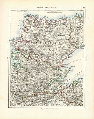 1897 Antique Map- Johnston - Scotland, Section 2- Sutherland, Ross, Caithness