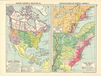 1925 ca MAP - NORTH AMERICA HISTORICAL, COLONISATION