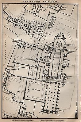 1910 Baedeker Antique Map- Uk-Cathedral Floor Plan-Canterbury