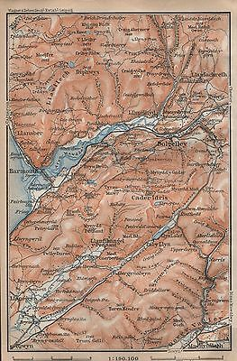 1910 Baedeker Antique Map- Uk-Cader Idris, Dolgelley