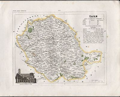 1841 Antique Map Monin France H/Col - Departments, Tarn Alby Castres Gaillac