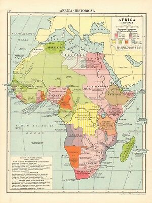 1925 ca MAP - AFRICA - HISTORICAL, 1815 - 1922, POSSESSIONS AND INFLUENCES