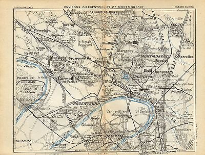 1927  Vintage Map-Paris-Environs Of Argenteuil And Montmorency