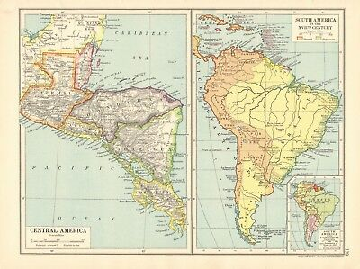 1925 ca MAP - CENTRAL AMERICA, SOUTH AMERICA IN 17th CENTURY