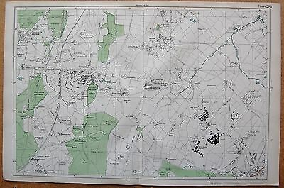 1912 Ca LARGE SCALE BACON STREET MAP- LONDON - ESHER HOOK CLAYGATE EPSOM