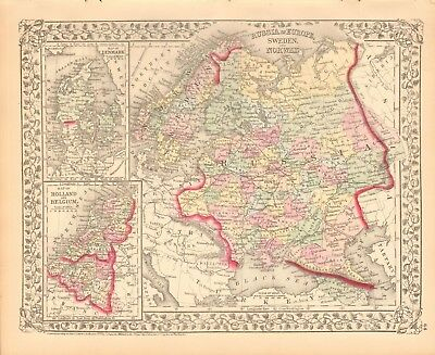 1874 Antique Map - Russia In Europe, Sweden And Norway,Denmark,Holland, Belgium