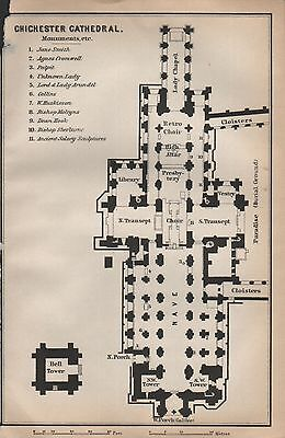 1910 Baedeker Antique Map- Uk-Cathedral Floor Plan-Chichester